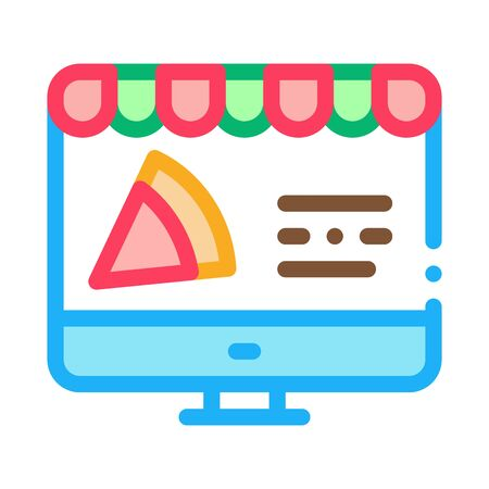Pizza Site Order Icon Vector. Outline Pizza Site Order Sign. Isolated Contour Symbol Illustration Stock fotó - 138452751