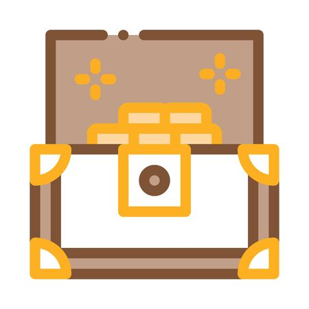 Treasure Chest Icon Vector. Outline Treasure Chest Sign. Isolated Contour Symbol Illustration