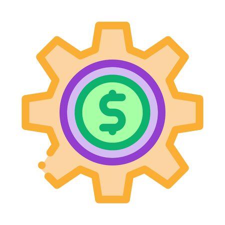 Gear Dollar Coin Icon Vector. Outline Gear Dollar Coin Sign. Isolated Contour Symbol Illustration