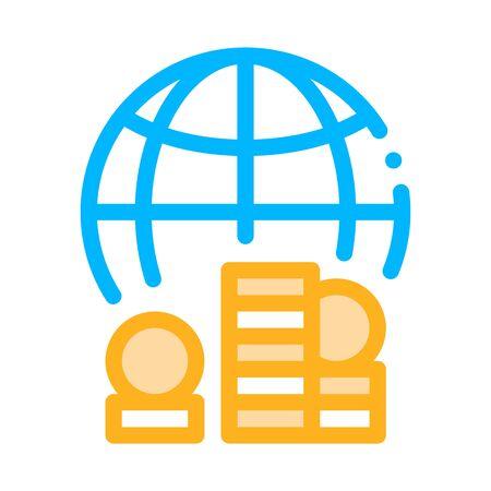 Worldwide Money Icon Vector. Outline Worldwide Money Sign. Isolated Contour Symbol Illustration Ilustração