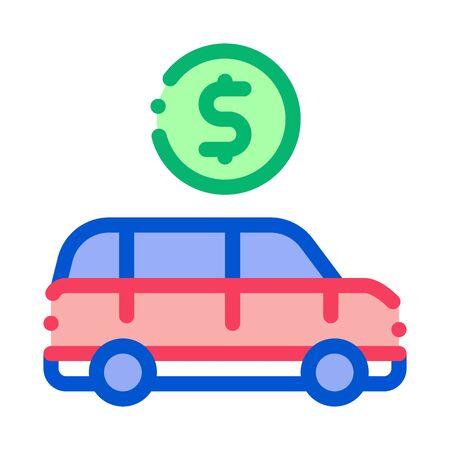 Car Dollar Coin Icon Vector. Outline Car Dollar Coin Sign. Isolated Contour Symbol Illustration
