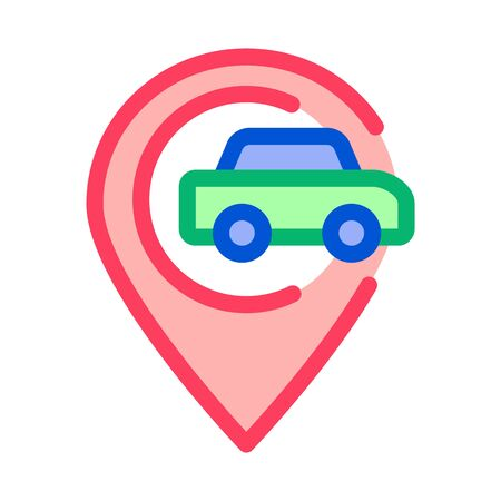 Car Gps Map Mark Icon Vector. Outline Car Gps Map Mark Sign. Isolated Contour Symbol Illustration