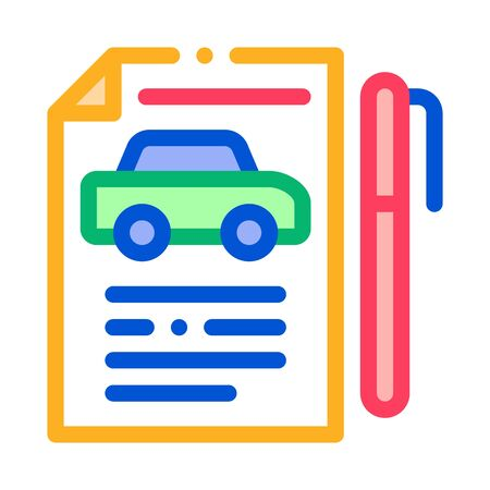 Car Buy Agreement Icon Vector. Outline Car Buy Agreement Sign. Isolated Contour Symbol Illustration Standard-Bild - 138452848