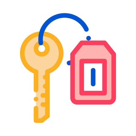 Car Key Label Icon Vector. Outline Car Key Label Sign. Isolated Contour Symbol Illustration