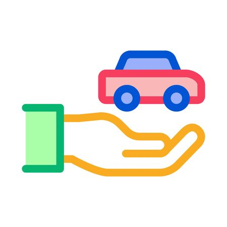 Hand Holding Car Icon Vector. Outline Hand Holding Car Sign. Isolated Contour Symbol Illustration