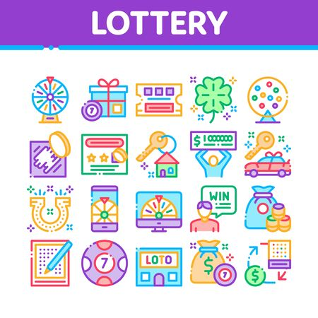 Lottery Gambling Game Collection Icons Set Vector Thin Line. Human Win Lottery And Hold Check, Car Key And Money Bag, Fortune Wheel And Loto Concept Linear Pictograms. Color Contour Illustrations Banque d'images - 138465524