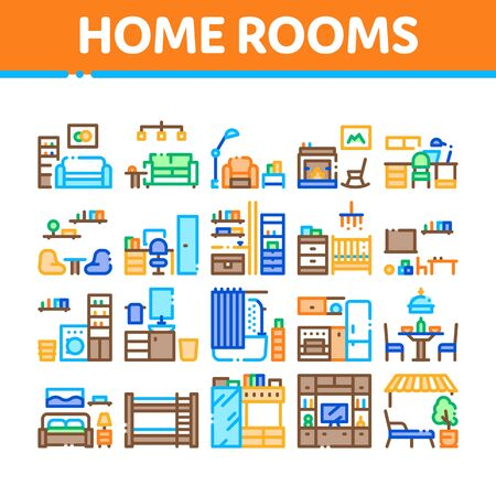 Home Rooms Furniture Collection Icons Set Vector Thin Line. Sofa And Table, Lamp And Chair, Fireplace And Rocking-chair Home Rooms Interior Concept Linear Pictograms. Color Contour Illustrations