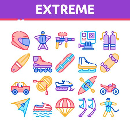 Extreme Sport Activity Collection Icons Set Vector Thin Line. Bike And Crash Helmet, Parachute And Hang-glider Equipment For Extreme Active Concept Linear Pictograms. Color Contour Illustrations Stock fotó - 138465534