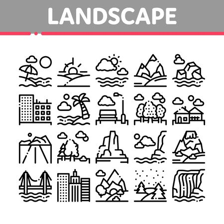 Landscape Travel Place Collection Icons Set Vector Thin Line. City And Seaside, Island And Mountain, Bridge And Park Landscape Concept Linear Pictograms. Monochrome Contour Illustrations