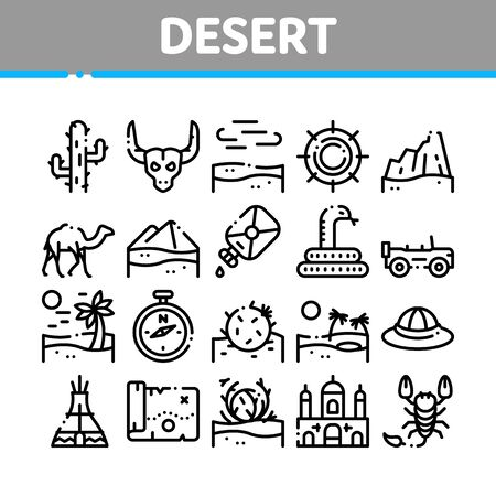 Desert Sandy Landscape Collection Icons Set Vector Thin Line. Desert Sand Dune, Snake And Camel, Car And Scorpion, Compass And Ox Skull Concept Linear Pictograms. Monochrome Contour Illustrations Иллюстрация