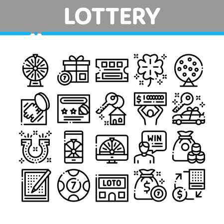 Lottery Gambling Game Collection Icons Set Vector Thin Line. Human Win Lottery And Hold Check, Car Key And Money Bag, Fortune Wheel And Loto Concept Linear Pictograms. Monochrome Contour Illustrations