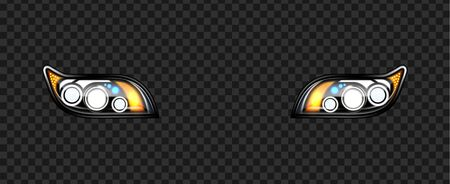 Headlight Car Detail With Glowing Effect Vector. Front Led Automobile Headlight Tool, Modern Style Exterior Element. Illuminate Design Lamp Equipment Concept Template Realistic 3d Illustration