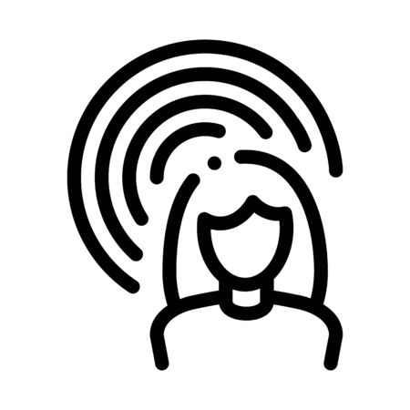 Female Hearing Icon Vector. Outline Female Hearing Sign. Isolated Contour Symbol Illustration