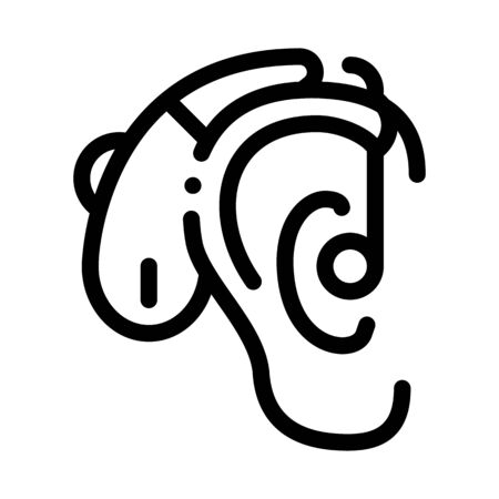 Hearing Aid Icon Vector. Outline Hearing Aid Sign. Isolated Contour Symbol Illustration Vectores