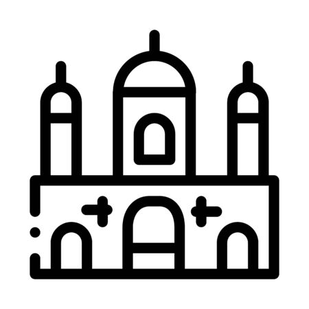 Islamic Building Icon Vector. Outline Islamic Building Sign. Isolated Contour Symbol Illustration