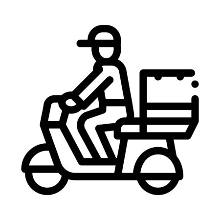 Courier Delivery on Motorcycle Icon Vector. Outline Courier Delivery on Motorcycle Sign. Isolated Contour Symbol Illustration