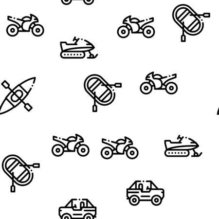 Extreme Sport Activity Seamless Pattern Vector Thin Line. Illustrations Ilustracja