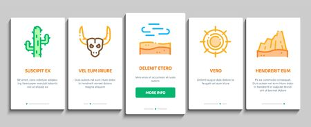 Desert Sandy Landscape Onboarding Mobile App Page Screen Vector. Desert Sand Dune, Snake And Camel, Car And Scorpion, Compass And Ox Skull Concept Linear Pictograms. Color Contour Illustrations