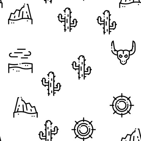 Desert Sandy Landscape Seamless Pattern Vector Thin Line. Illustrations
