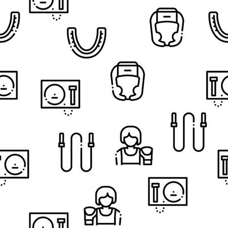 Boxing Sport Tool Seamless Pattern Vector Thin Line. Illustrations