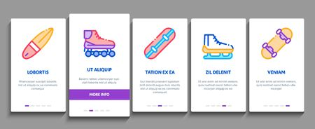 Extreme Sport Activity Onboarding Mobile App Page Screen Vector. Bike And Crash Helmet, Parachute And Hang-glider Equipment For Extreme Active Concept Linear Pictograms. Color Contour Illustrations