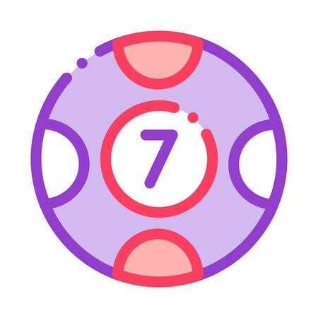 Ball with Number Icon Vector. Outline Ball with NumberSign. Isolated Contour Symbol Illustration