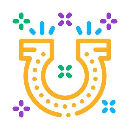 Horseshoe for Good Luck Icon Vector. Outline Horseshoe for Good Luck Sign. Isolated Contour Symbol Illustration