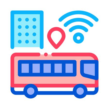 Bus WiFi Signal Icon Vector. Outline WiFi Signal in City Sign. Isolated Contour Symbol Illustration Ilustração