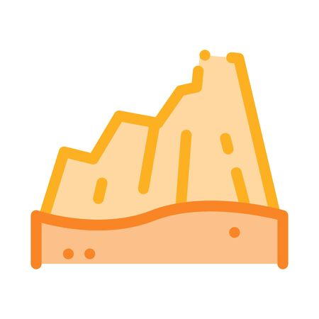 Desert Mountain Icon Vector. Outline Desert Mountain Sign. Isolated Contour Symbol Illustration