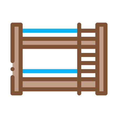 Bunk Bed Icon Vector. Outline Bunk Bed Sign. Isolated Contour Symbol Illustration