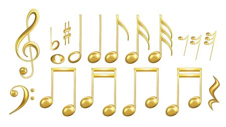 Musical Notes Symbols In Golden Color Set Vector. Collection Of Classic Music Minim And Crotchet, Quaver And Semiquaver, Notes And Treble Clef, Sharp And Minim. Layout 3d Illustrations