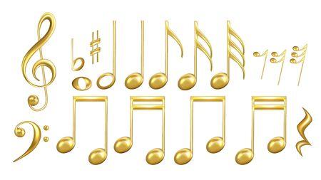 Symboles De Notes De Musique Dans Le Vecteur De Jeu De Couleurs Dorées. Collection de musique classique Minim et Crotchet, Croche et double croche, Notes et clé de sol, Sharp et Minim. Mise en page Illustrations 3D Vecteurs
