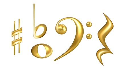 Clefs Musical Symbols In Golden Color Set Vector. Collection Of Classic Clefs, Sharp Key Raise, Semibreve And Minim Half Note Used For Music. Musician Signs Concept Template 3d Illustrations