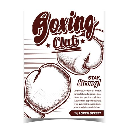 Boxing Sportive Club Advertising Poster Vector. Boxer Protective Hand Sportive Equipment Gloves For Fighting. Box Accessory Template Designed In Vintage Style Monochrome Illustration
