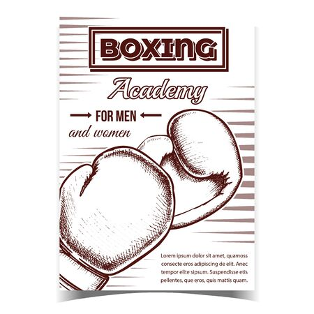 Boxing Academy For Men And Women Banner Vector. Boxing Gloves Protect Sportive Wear With Foam Which Provide Maximum Impact Absorption On Advertising Poster. Monochrome Illustration Illustration