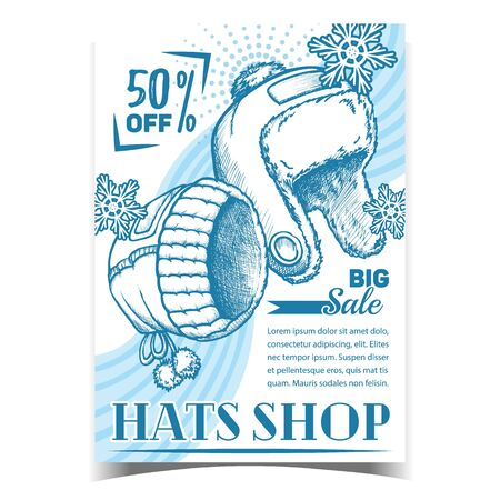 Hats Shop Winter Big Sale Advertise Poster Vector. Hats With Fur Seasonal Wear And Snow. Woollen Cap Clothing Accessory For Head. Monochrome Template Hand Drawn In Vintage Style Illustration