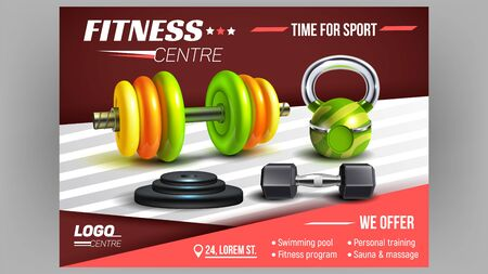 Fitness Centre Sport Advertising Poster Vector. Dumbbell, Barbells And Metal Discs Fitness Lifting Sportive Equipment. Training Tools Bright Concept Template Realistic 3d Illustration