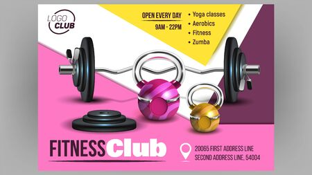 Fitness Club Creative Advertising Banner Vector. Curl Barbell Lifting Collapsible Kit And Discs, Barbells, Kettlebells And Dumbbells Fitness Tools. Sport Equipment Mockup Realistic 3d Illustration