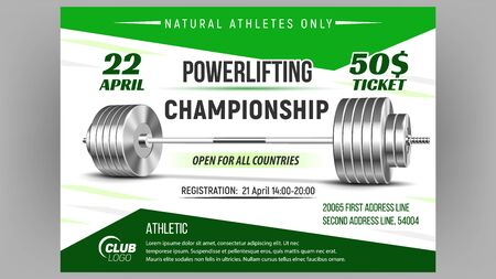 Powerlifting Championship Advertise Poster Vector. Barbell Weightlifting Sport Equipment For Powerlifting. Glossy Silver Heavy Weight Iron Tool For Strength Training Template Realistic 3d Illustration