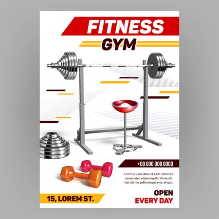 Fitness Gym Equipment Advertising Poster Vector. Steel Barbell On Adjustable Stand And Chalk Powder In Bowl For Bodybuilder Strength Training In Gym. Template Realistic 3d Illustration Illustration
