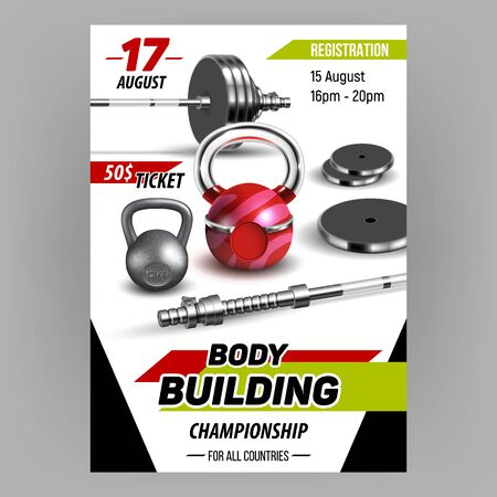 Body Building Championship Advertise Banner Vector. Barbells, Kettlebells And Dumbbells Equipment For Body Building. Fitness Sport Tool For Strong Muscles Template Realistic 3d Illustration