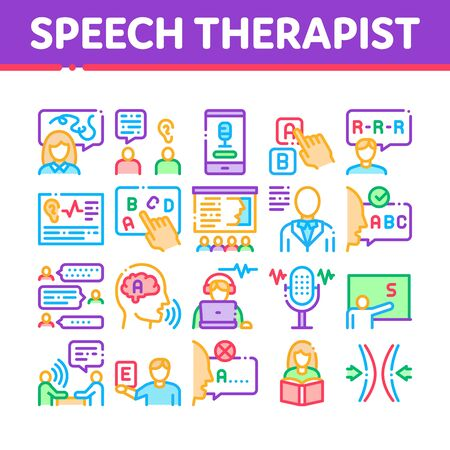 Speech Therapist Help Collection Icons Set Vector. Speech Therapist Therapy, Alphabet And Blackboard, Phone And Microphone Concept Linear Pictograms. Color Contour Illustrations