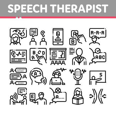 Speech Therapist Help Collection Icons Set Vector. Speech Therapist Therapy, Alphabet And Blackboard, Phone And Microphone Concept Linear Pictograms. Monochrome Contour Illustrations