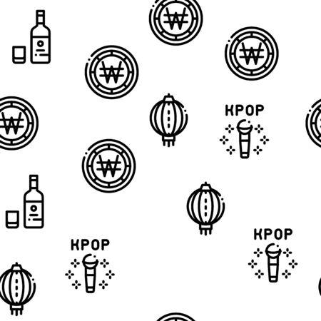 Korea Traditional Seamless Pattern Vector Thin Line. Illustrations