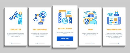 Robotics Master Onboarding Mobile App Page Screen Vector. Human Worker With Drone And Robot Machine, Robotics Artificial Intelligence And Binary Code Linear Pictograms. Color Contour Illustrations Illustration