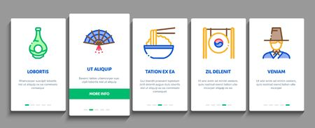 Korea Traditional Onboarding Mobile App Page Screen Vector. Korea Flag And Wearing, Food And Drink, Palace Building And Gong, Fan And Lantern Linear Pictograms. Color Contour Illustrations