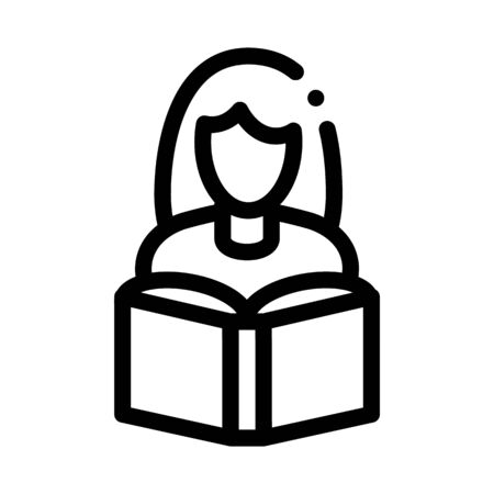 Girl Reading Book Icon Vector. Outline Girl Reading Book Sign. Isolated Contour Symbol Illustration