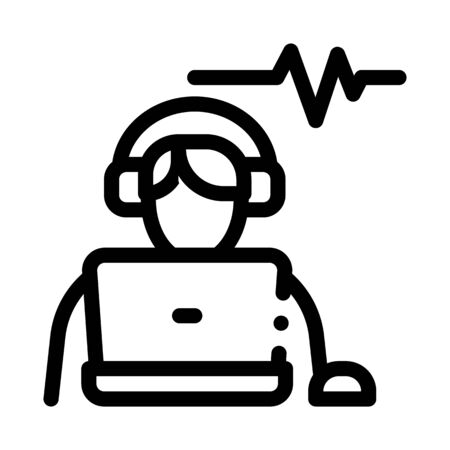 Listening Audio Icon Vector. Outline Listening Audio Sign. Isolated Contour Symbol Illustration Ilustração