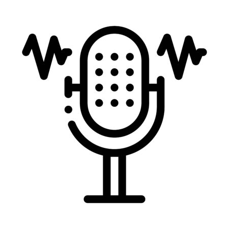 Microphone Waves Icon Vector. Outline Microphone Waves Sign. Isolated Contour Symbol Illustration