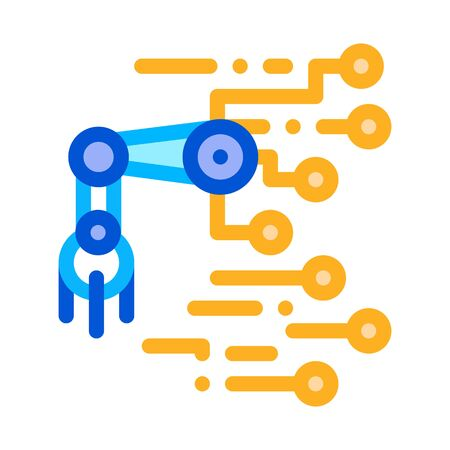 Robot Microchip Icon Vector. Outline Robot Microchip Sign. Isolated Contour Symbol Illustration